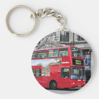 Red London Double Decker Bus, England Basic Round Button Key Ring