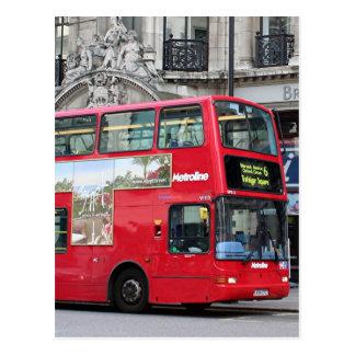 Red London Double Decker Bus, England Postcard