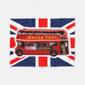 Red London Double Decker Bus Fleece Blanket