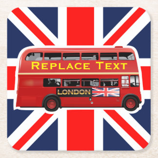 Red London Double Decker Bus Square Paper Coaster