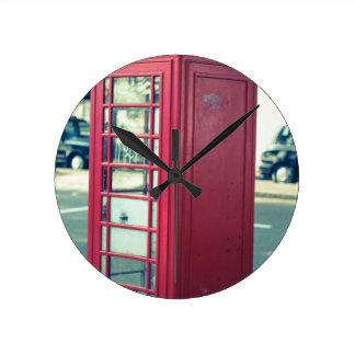 Red London Telephone Box Round Clock