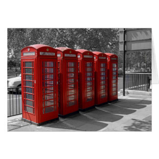 Red London Telephone Boxes Card