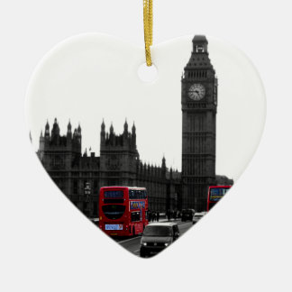 red London Tour bus and Big Ben Ceramic Heart Decoration