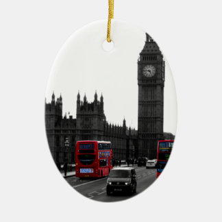 red London Tour bus and Big Ben Ceramic Oval Decoration