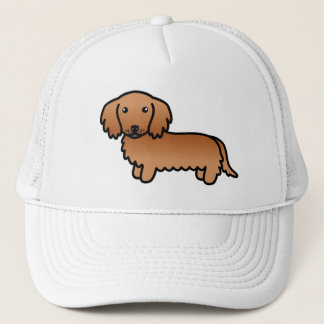 Red Long Coat Dachshund Cartoon Dog Trucker Hat