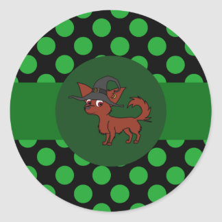Red Long Hair Chihuahua with Green Dots Round Sticker