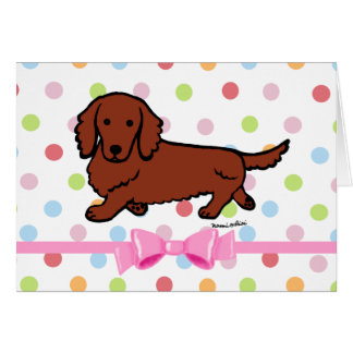 Red Long Haired Dachshund 1 Card