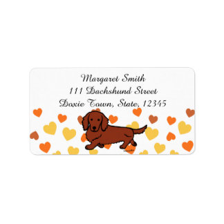 Red Long Haired Dachshund 1 Label