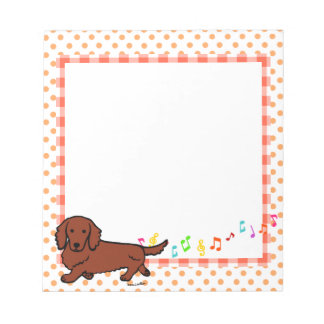 Red Long Haired Dachshund 1 Memo Pads