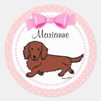 Red Long Haired Dachshund 1 Round Sticker