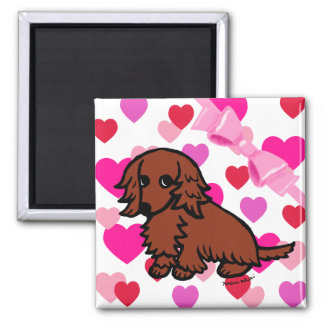 Red Long Haired Dachshund 2 Refrigerator Magnets