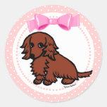 Red Long Haired Dachshund 2 Round Sticker