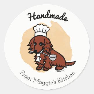 Red Long Haired Dachshund Chef Handmade Sticker