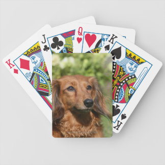Red Long-haired Miniature Dachshund Bicycle Playing Cards