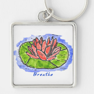 Red Lotus Breathe Lino Cut Key Ring