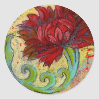 Red Lotus Dream Round Sticker