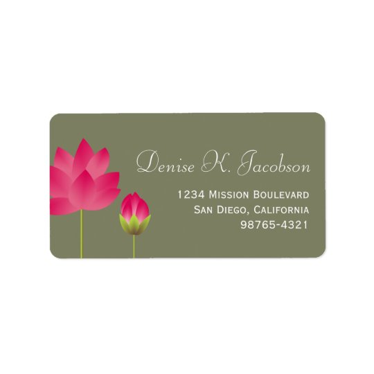 Red lotus flower blossom green return address label