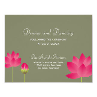 Red lotus flower green wedding reception enclosure 11 cm x 14 cm invitation card
