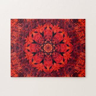 Red Lotus Flower Mandala Jigsaw Puzzle