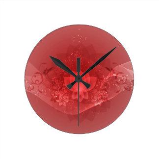 Red Lotus Flower Round Clock