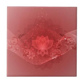 Red Lotus Flower Ceramic Tile