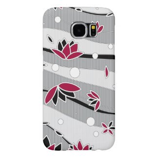 Red Lotus Flowers on Gray Stripes Samsung Galaxy S6 Cases