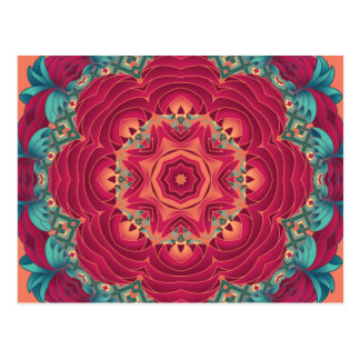 Red Lotus Mandala Postcard
