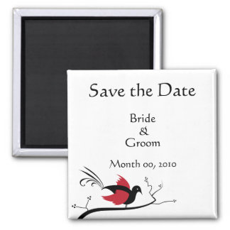 Red Love Bird Save the Date Magnets