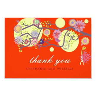 Red Love Birds Wedding Thank You Card 9 Cm X 13 Cm Invitation Card