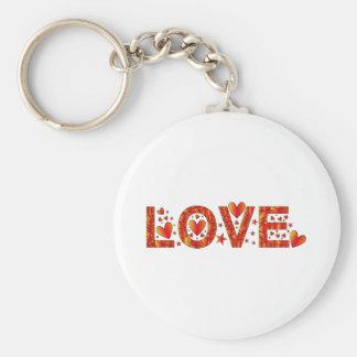 Red Love Design Basic Round Button Key Ring