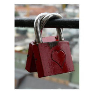Red love heart padlocks postcard