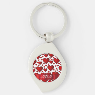 Red love heart personalized mom Silver-Colored swirl key ring