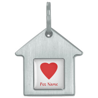 Red Love Heart. Pet Name Tag