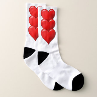 Red Love heart Socks