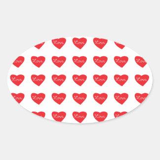 Red Love Heart Oval Sticker