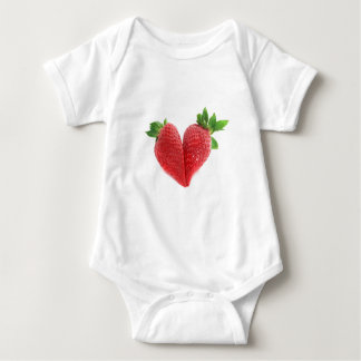 Red Love Heart Strawberries Baby Bodysuit