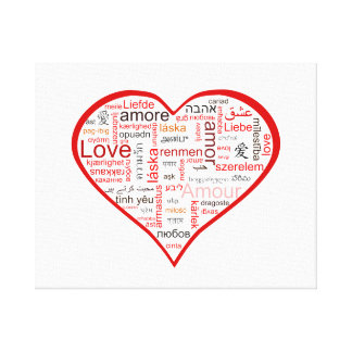Red Love Heart Typography Canvas Print