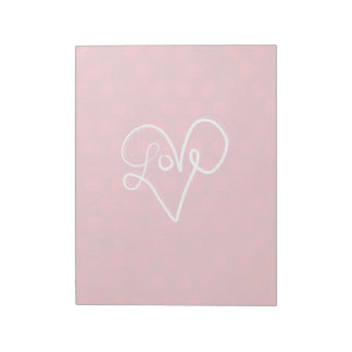 Red Love Heart Typography Notepad