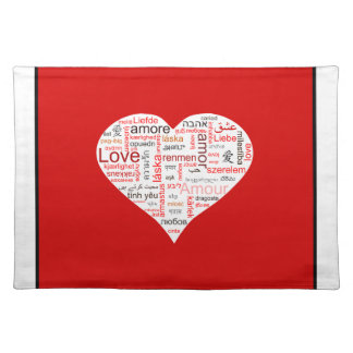 Red Love Heart Typography Placemat
