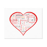 Red Love Heart Typography Stretched Canvas Prints