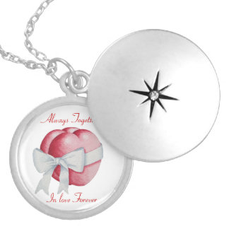 red love heart with white bow romantic Necklace
