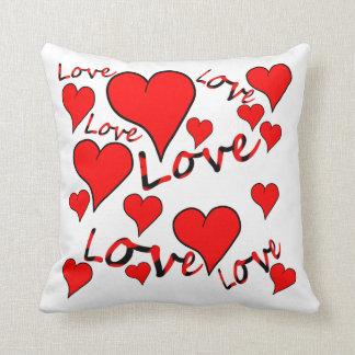 Red love hearts cushion