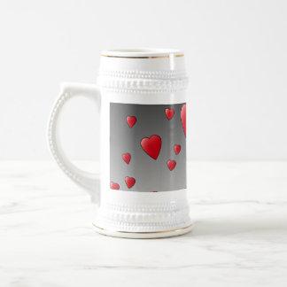 Red Love Hearts. Pattern. Beer Stein