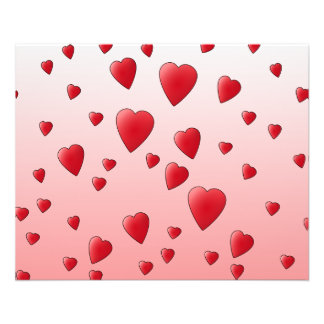 Red Love Hearts. Pattern. Full Color Flyer
