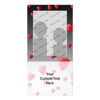 Red Love Hearts. Pattern. Custom Photo Card