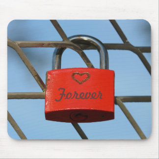 """Red Love Lock with Heart on Fence, """"Forever"""" Mouse Pad"""