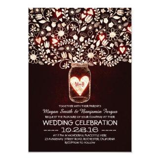 Red love mason jar flowers wedding invites
