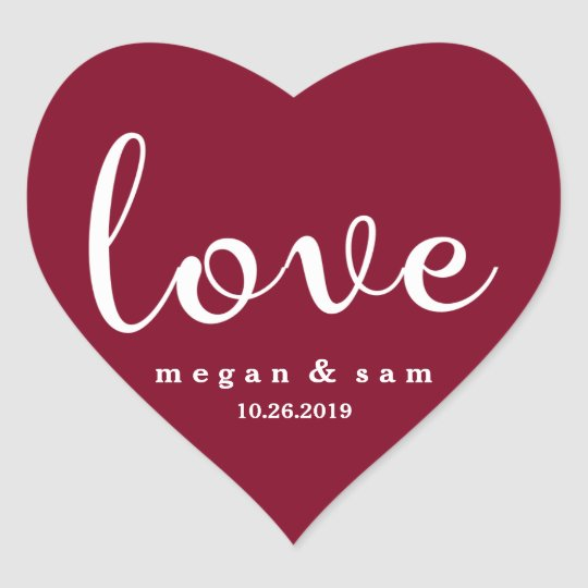 Red Love Name and Date Heart Sticker