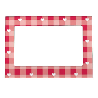 Red love pattern with hearts magnetic frame