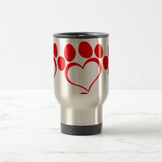 RED LOVE PAW PRINT ANIMALS CAUSES PETS CARING MOTI MUGS